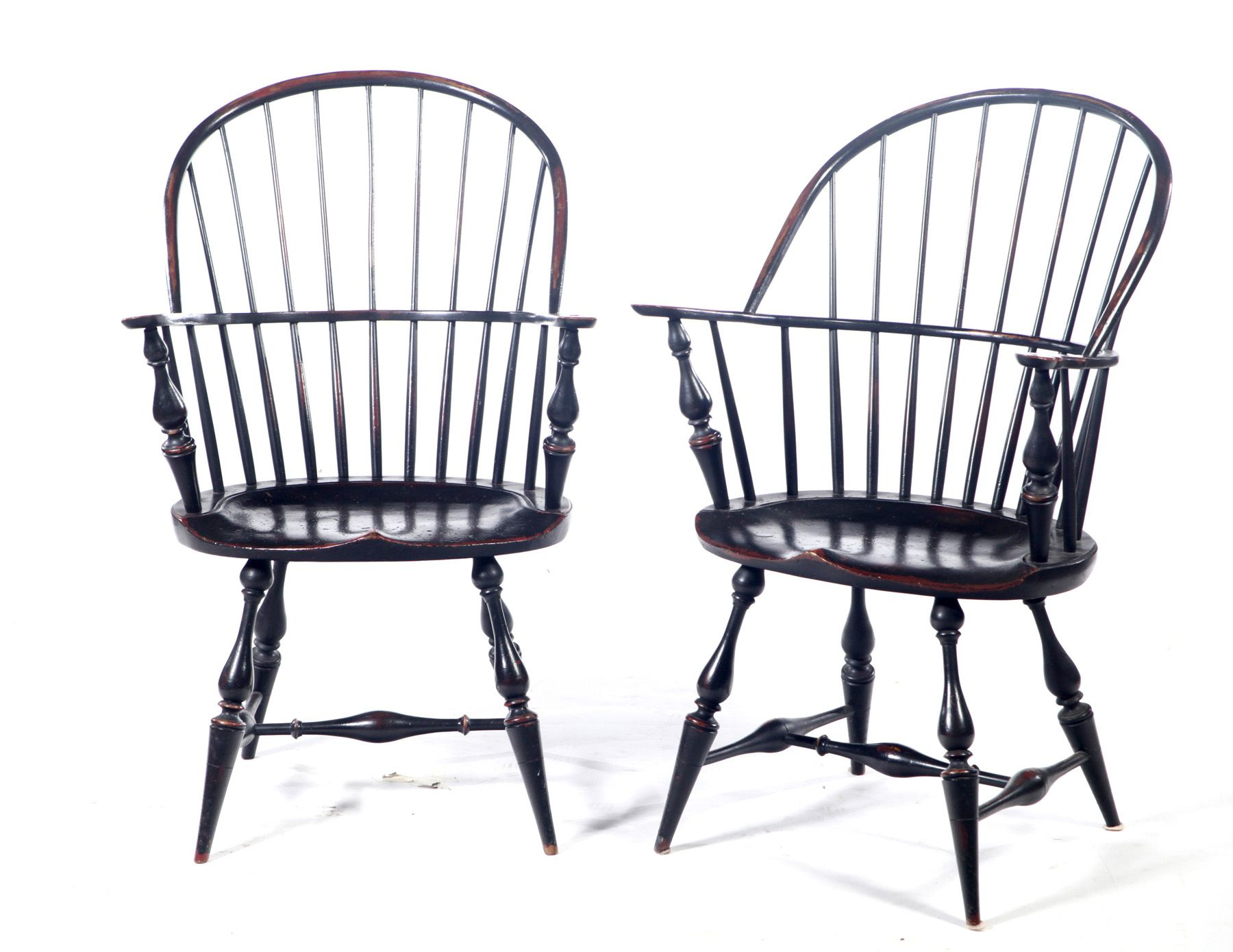 PAIR OF SHRODER SACK BACK WINDSOR ARM CHAIRS. Ohio, 20th century. Of ...