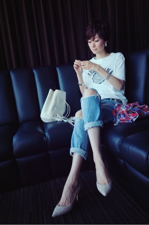 田丸麻紀『wardrobe+衣装+スッピン+メイク後』   夏 ファッション ...