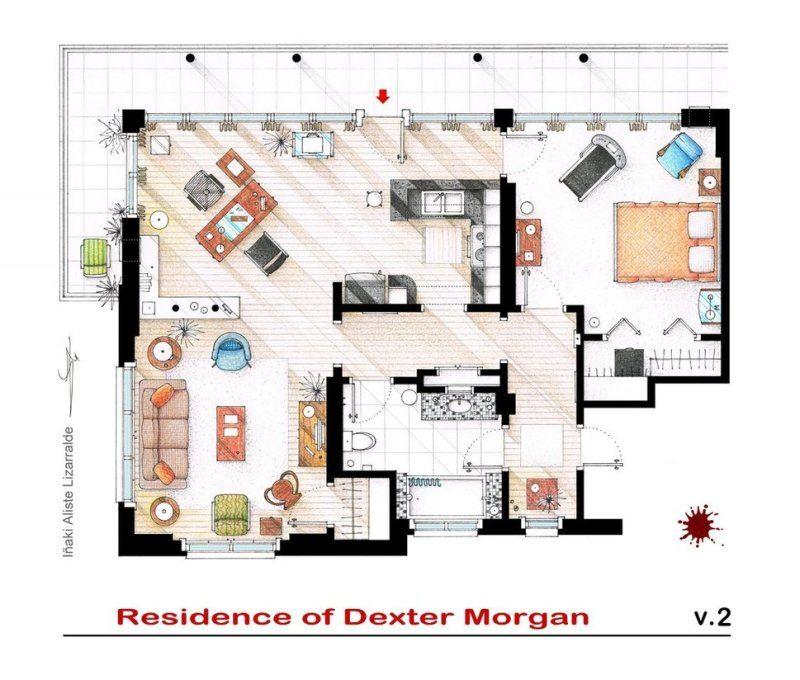 Inaki Aliste Lizarralde Hand Drawn Floor Plans Of Popular Tv Shows Rendered Floor Plan Apartment Floor Plans House Floor Plans