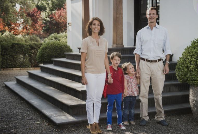 Prince Joachim, Princess Marie and Princess Athena posed for photographs with Prince Henrik (the Younger) on his first day of school on August 14, 2015 in Ordrup.