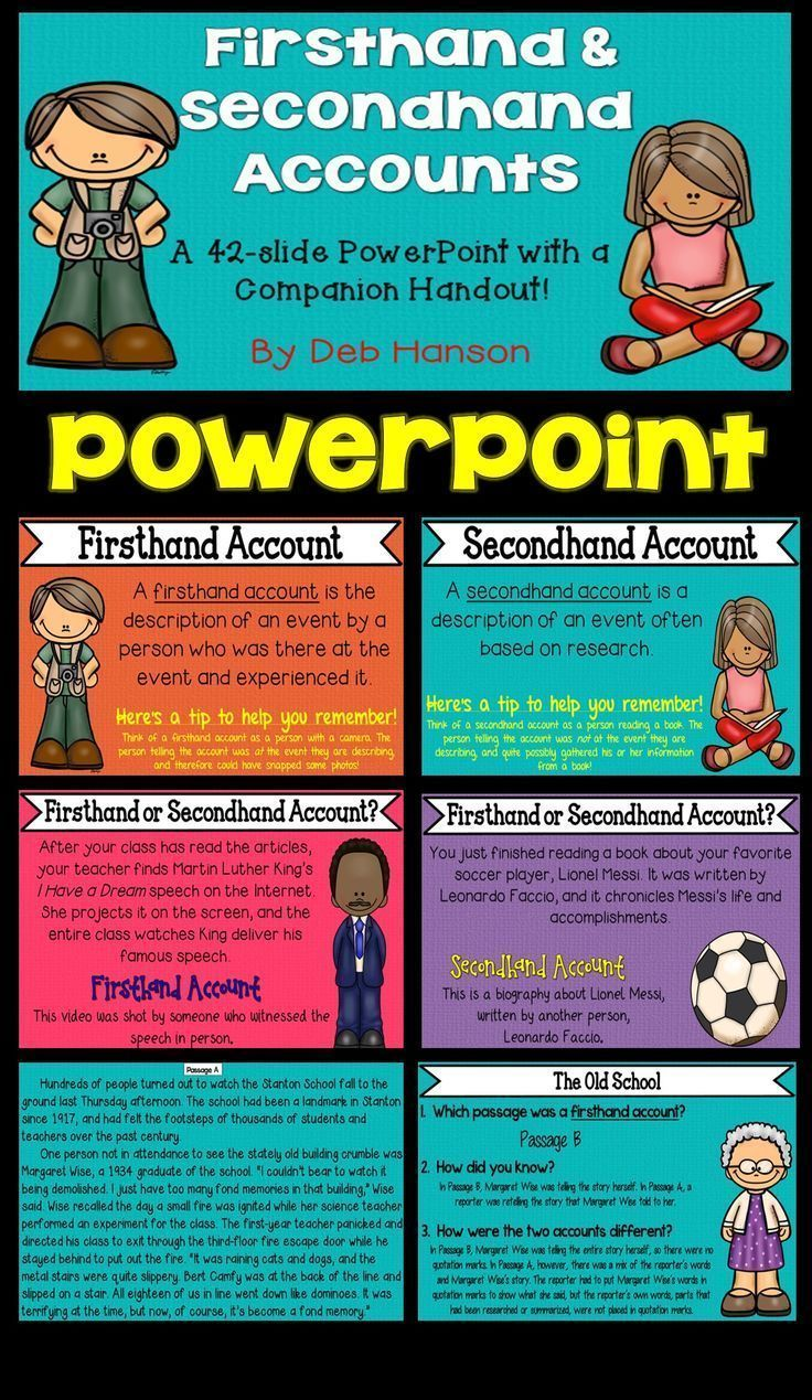 firsthand and secondhand accounts powerpoint 4th grade language
