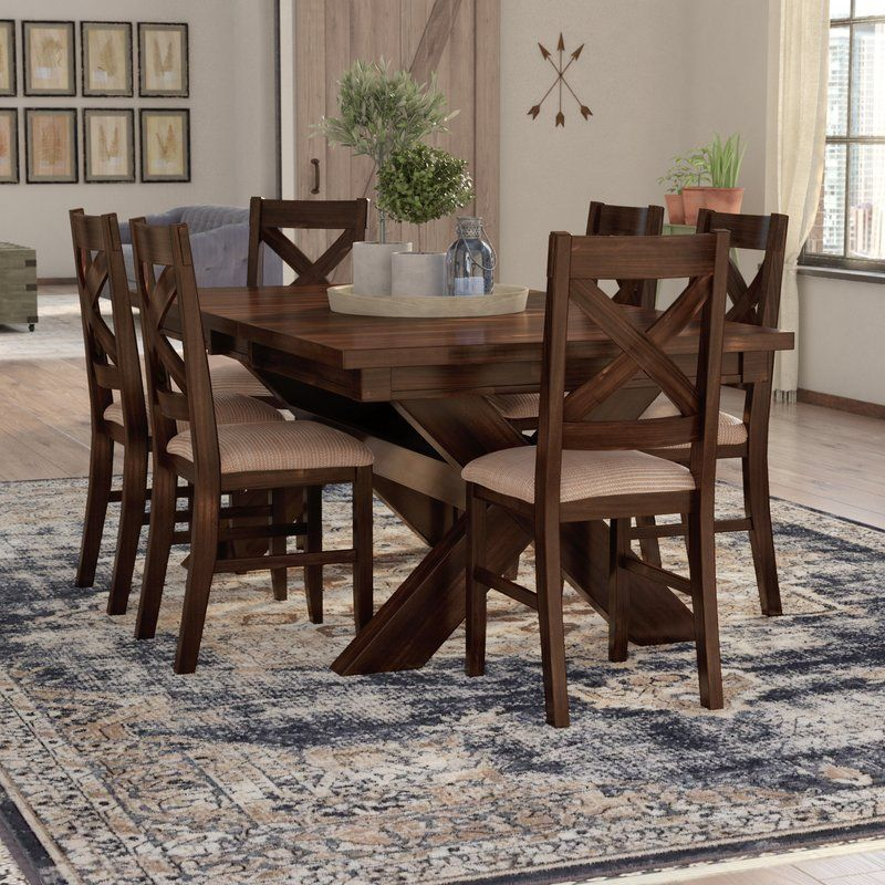Isabell 7 Piece Dining Set Solid Wood Dining Set Dining Room