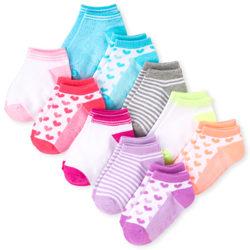 Toddler Girls Neon Print Ankle Socks 10 Pack Toddler Girl Stylish Socks
