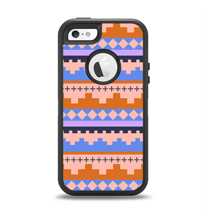 The Pink-Blue & Coral Tribal Ethic Geometric Pattern Apple iPhone 5-5s Otterbox Defender Case Skin Set