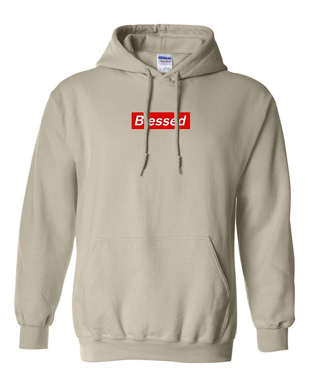 CUSTOM Blessed Supreme Gildan Hooded Sweater Sweatshirt Hoodie New - Sand  at Amazon Men s Clothing store  064390891c