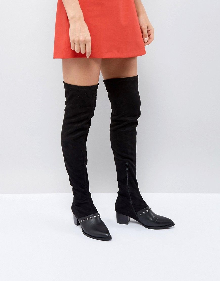 PRETTYLITTLETHING Studded Over The Knee Boot R7S82CP