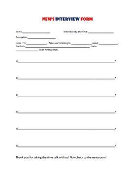 News Interview Script! For student news show or interview