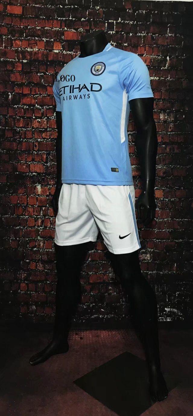 3b912569f23 17-18 Cheap Adult Manchester City Home Jersey Uniform Blue Man Football Team  Kits For Sale Shirt+Short