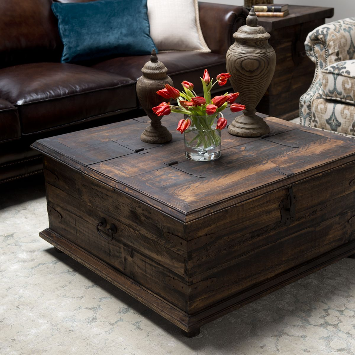 Rustic Coffee Table Trunk Includes Hinged Lid For Handy Storage