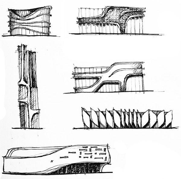 Architectural Sketches part 1 on Behance | Cephe | Pinterest ...