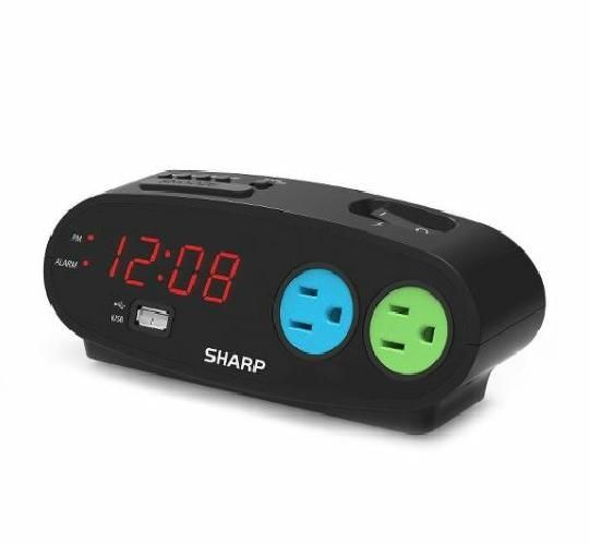 Sharp Bedside Alarm Clock with 1 Rapid Charge USB and 2 AC Outlets