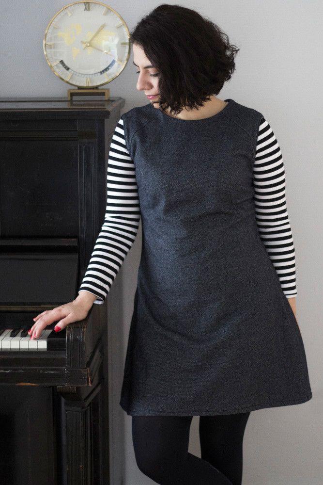 Françoise Dress - Etuikleid in grau kombiniert mit ...