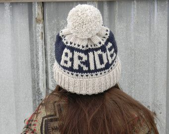 Bride Beanie | knit bride to be hat with pom | fair-isle knit winter toque | hat with words | Monogrammed bride hat | bachelorette ski