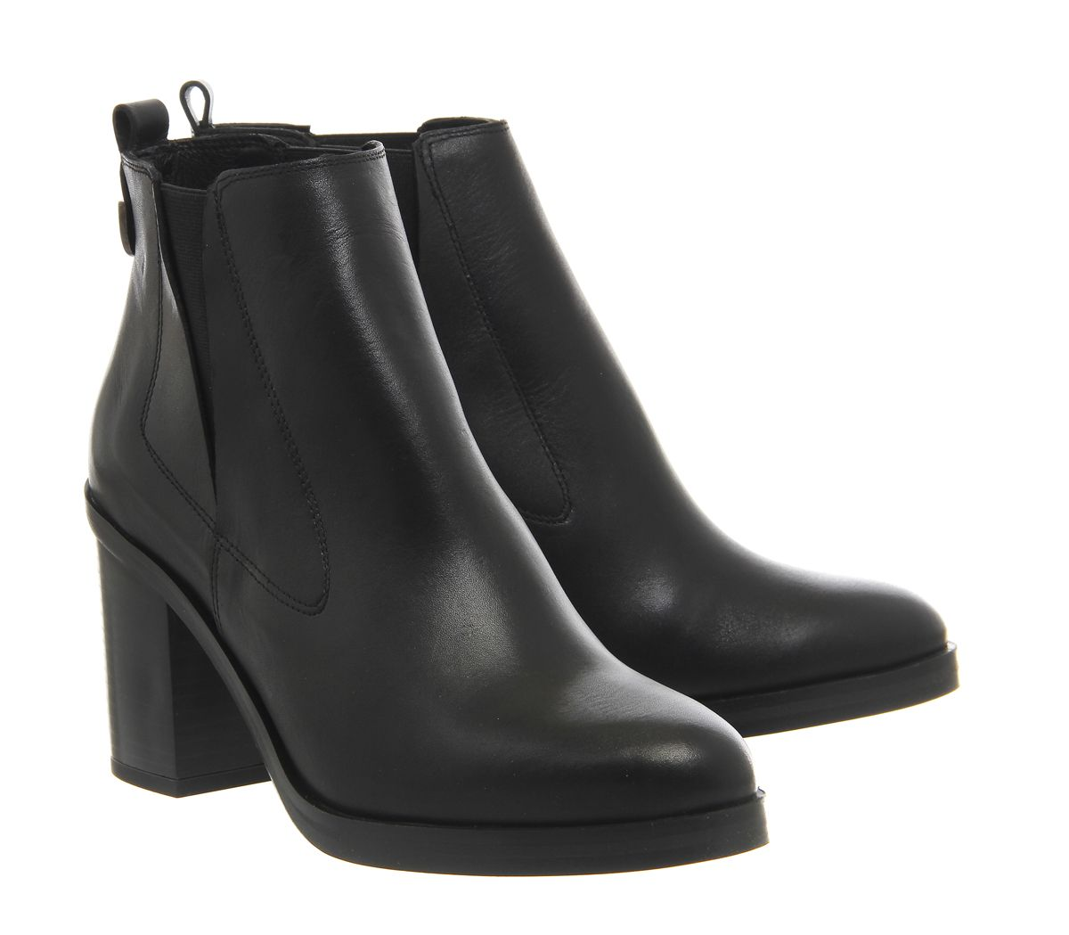 Office Illusion Block Heel Chelsea Boots Black Leather - Ankle Boots