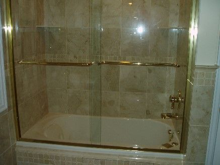 5 Tub Shower Door With Clear Glass And Gold Trim Shower Doors
