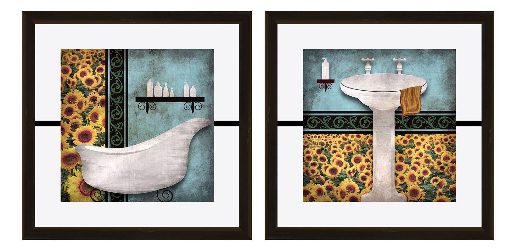Ptm Images 1 17006 Sunflower Bathroom Wall Art Set Of 2 Black Home