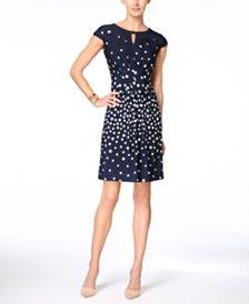 Tahari ASL Cap-Sleeve Dot-Print Sheath Dress