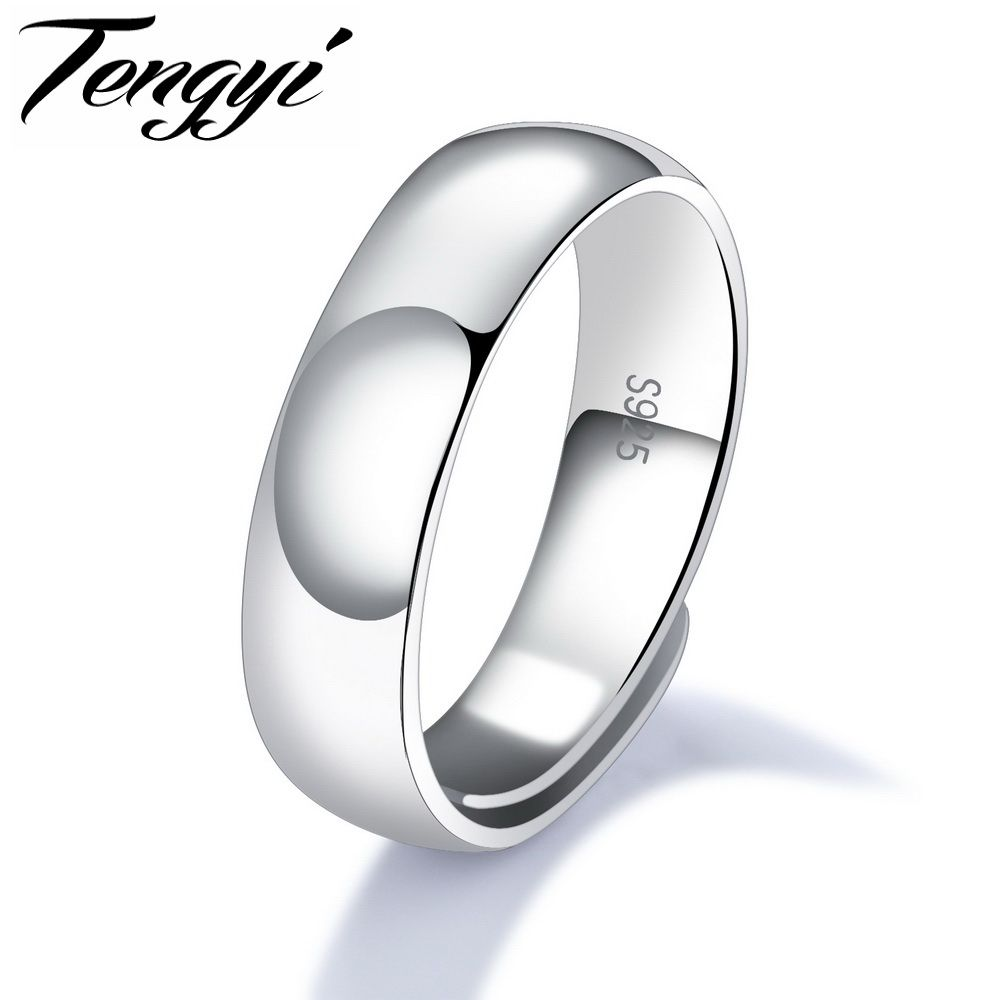 TENGYI 925 Sterling Silver Men Ring Simple Design Silver Color 4.6 ...