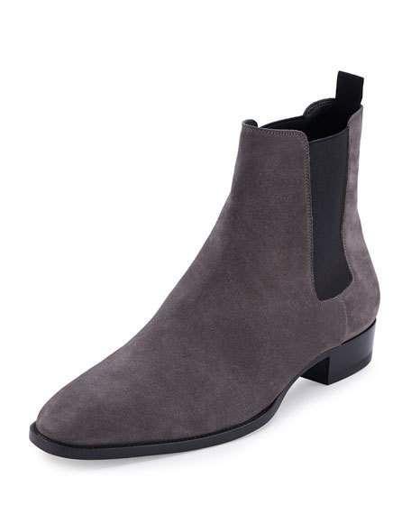 discount affordable cheap sale prices Saint Laurent Men's Grey Suede ... fjJsB