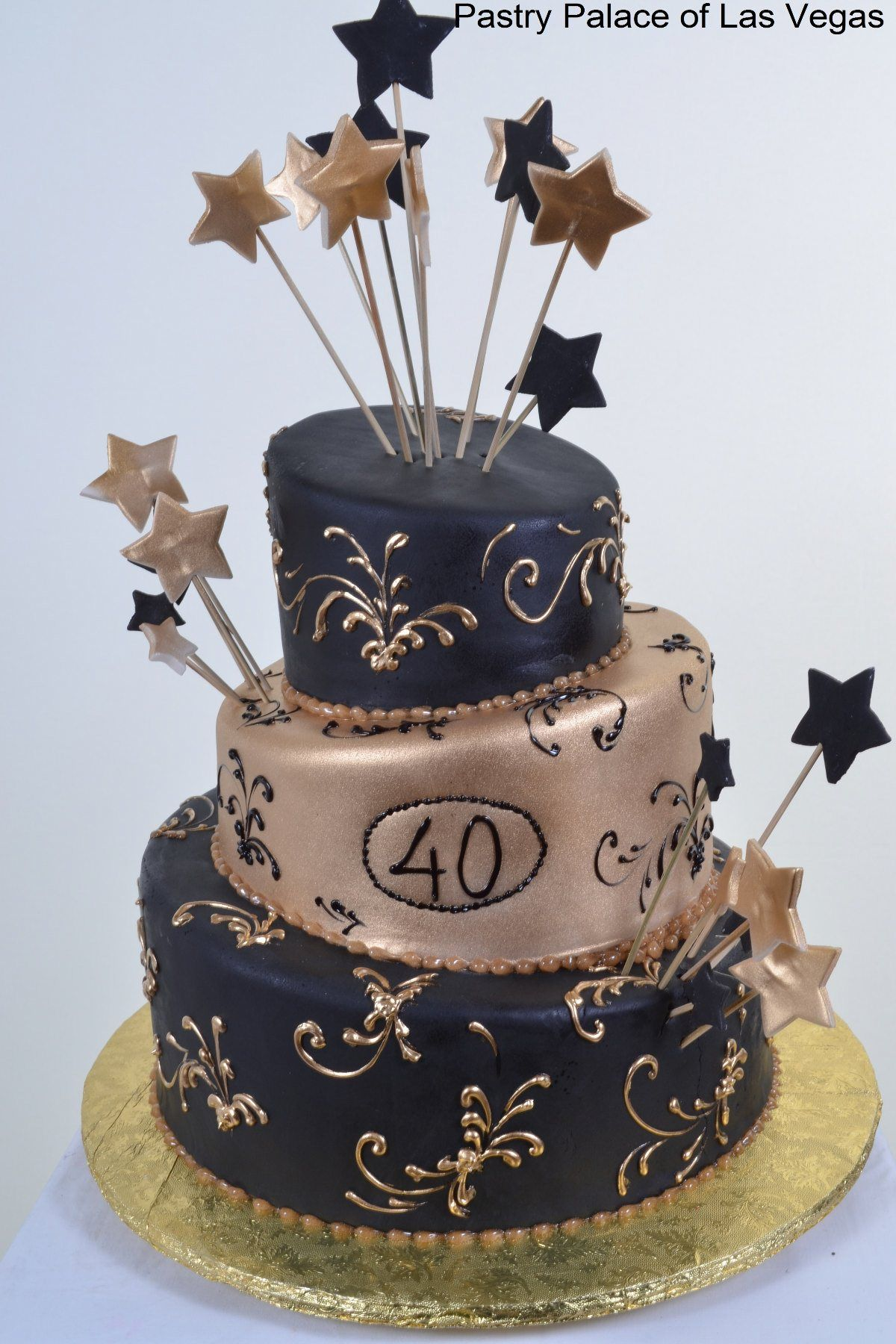 Forty Years Birthday Cake Navy
