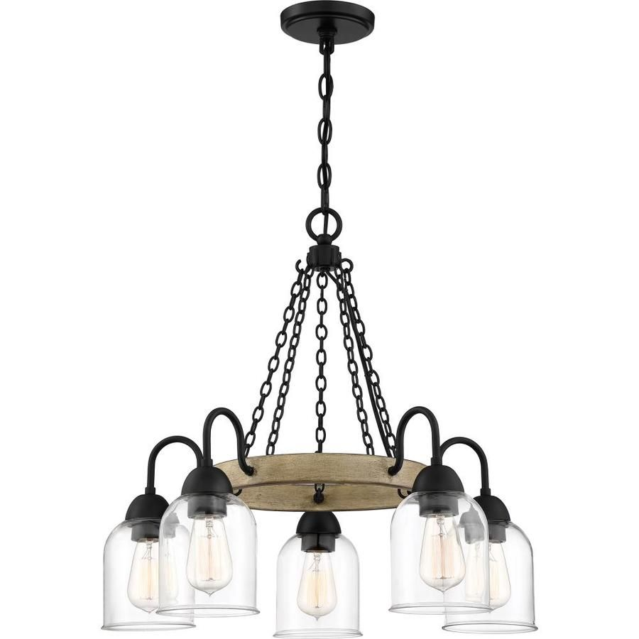 Square Wood Frame and Sheer Shade Chandelier