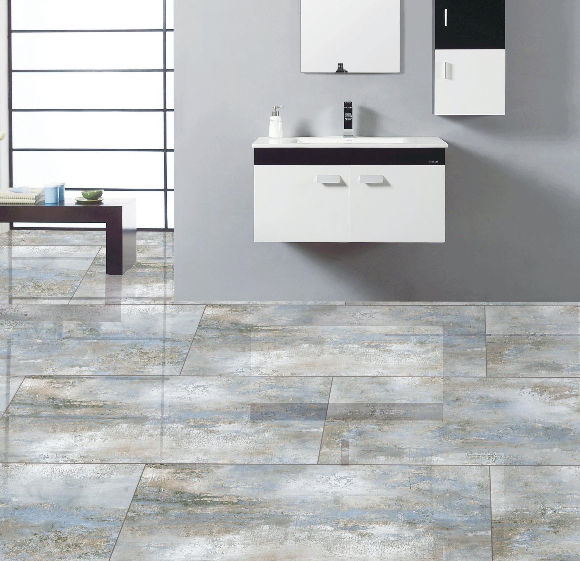 Tranquility Blue Polished Tile Floor Decor Guest Bathroom Small Floor Decor Flooring