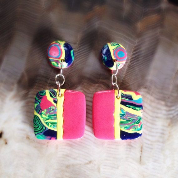 stroppel cane small square shaped polymer clay earrings by zeninthegarden fltm pinterest. Black Bedroom Furniture Sets. Home Design Ideas