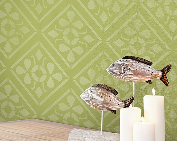 Large Geometric Tile Allover Wall Stencil for a Wallpaper Look ...