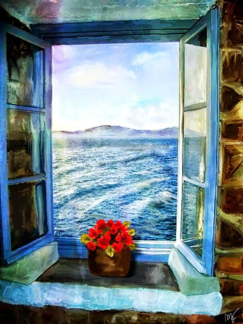 Pin De φωτεινη En Doors And Windows Pintura En Ventanas Ventanas Al Mar Arte De Ventana