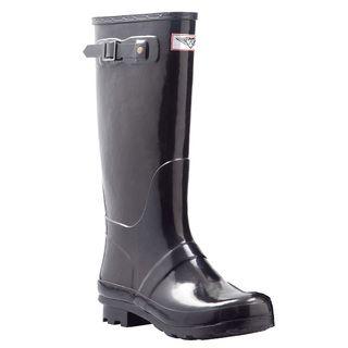 6da6074685d Women's Black Mid-calf Wedge Heel Rain Boots | Overstock.com ...