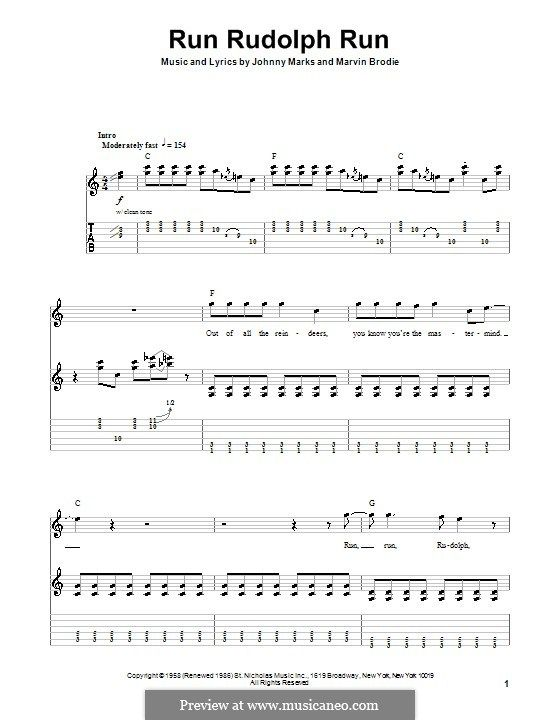 Run Rudolph Run: For guitar with tab by Johnny Marks, Marvin Brodie ...