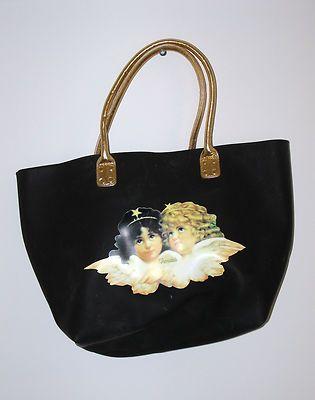 06c06296e1018 Vintage Fiorucci Tote Bag Angels Cherub Purse Black Vinyl Shopping Bag 80's  RARE | eBay