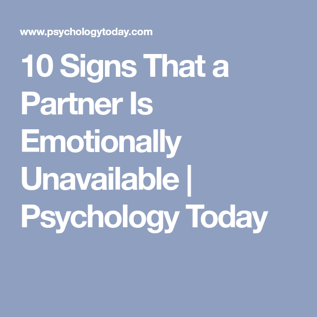 Emotionally unavailable psychology