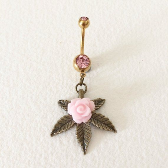 Photo of belly button ring, weed, cannabis,rose,marijuana, Belly Button Jewelry, cannabis piercing jewelry bellybutton ring wholesale PINK BRONZE MED