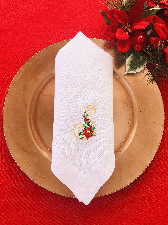 Christmas napkin, monogram napkin, personalized napkin ...