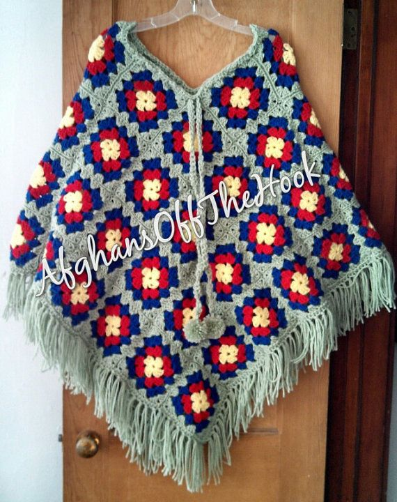 Warm and Colorful Hand Crafted Granny Square Poncho available in baby size!!