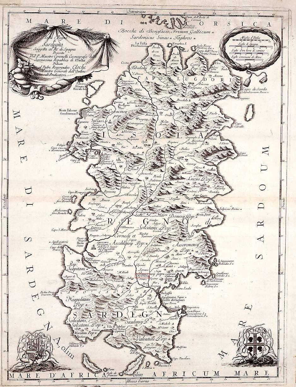 Cartina Antica Sardegna.Cartine Storiche In Cui Appare Serramanna Mappe Antiche Sardegna Storico