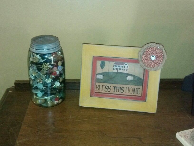 """Repaired broken frame - distressed the frame - cut piece of boarder to fit - glued a burlap homespun gem flower """"excellent end of school year gift!"""""""