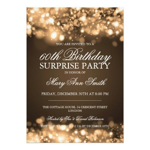Surprise birthday party gold sparkling lights card surprise surprise birthday party gold sparkling lights 5x7 paper invitation card filmwisefo Image collections