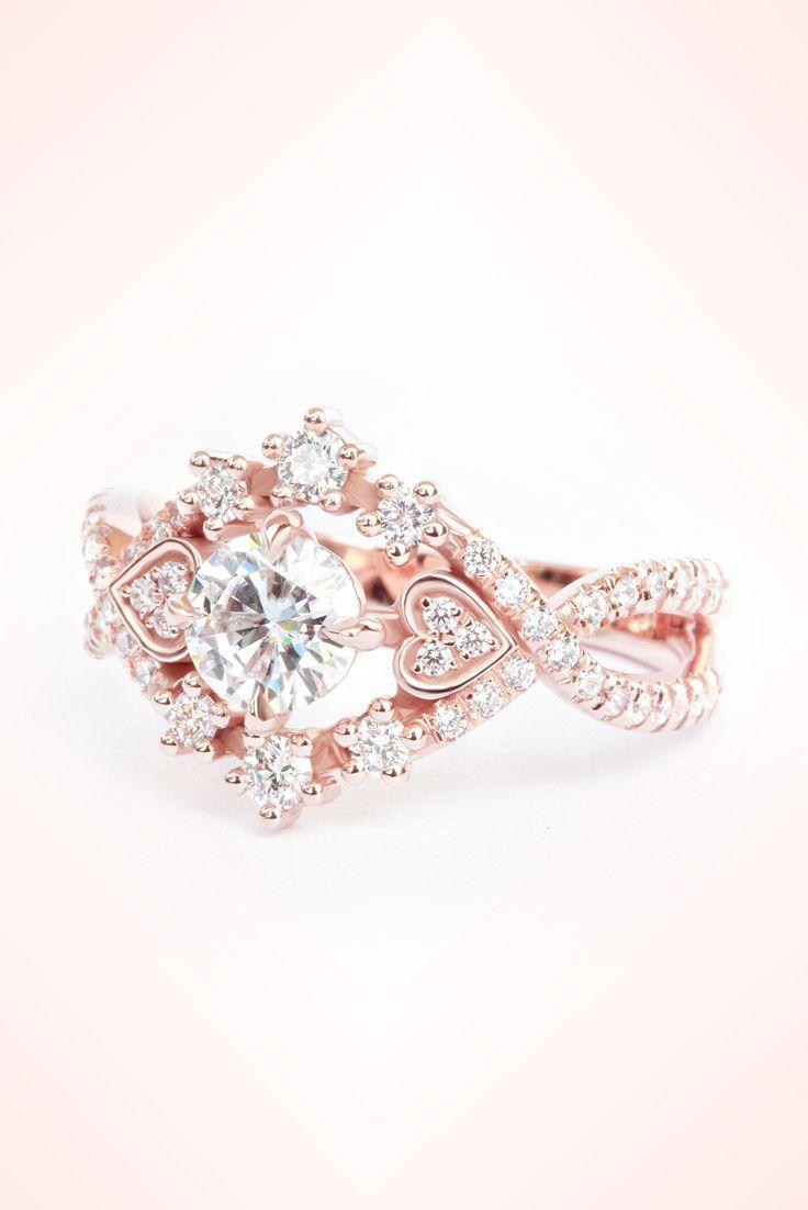Moissanite u diamond halo unique engagement ringforever one