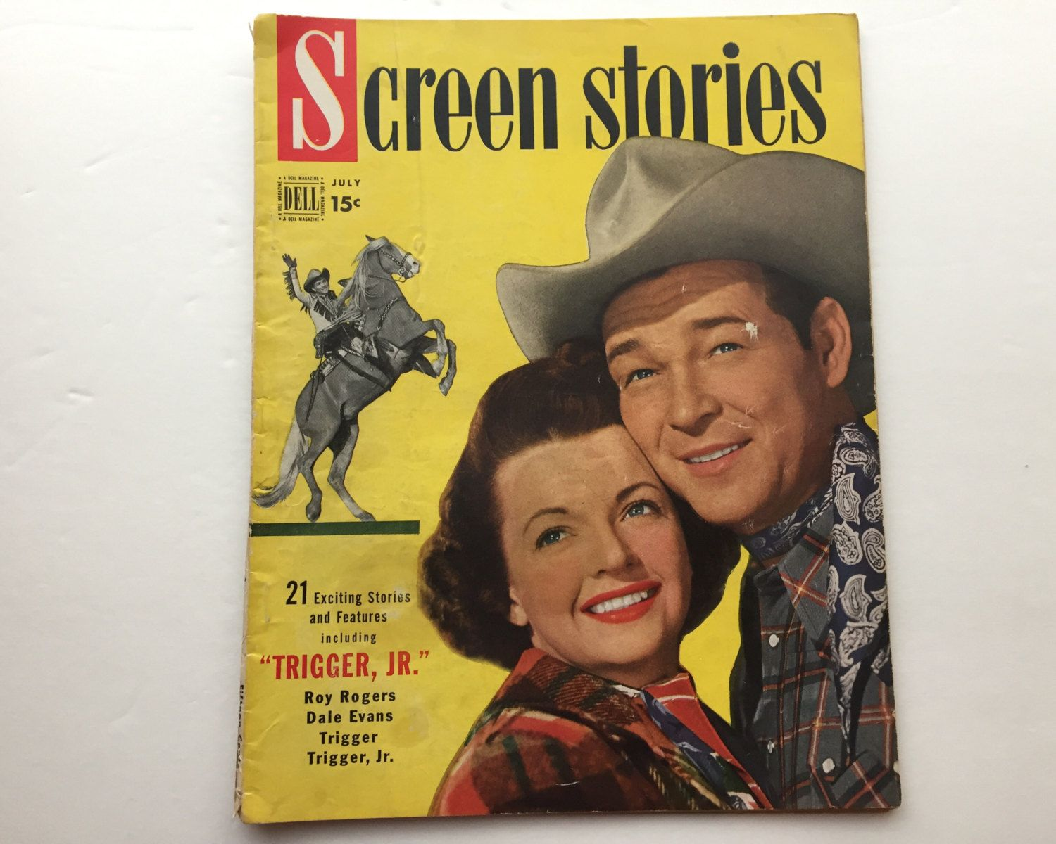 Screen Stories Magazine July 1950 - Cover Roy Rogers and Dale Evans - Vintage Movie Magazine - Inside Trigger Jr. & Father of the Bride by BagBagSydVintage on Etsy