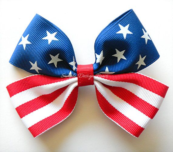4th of july hair bow - american