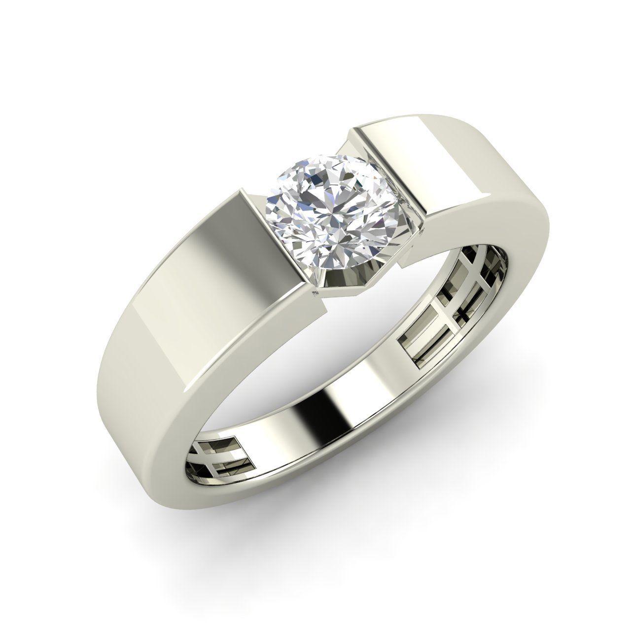 2 Carat Round Cut Natural White Topaz Mens Wedding  Engagement Band Ring (512)