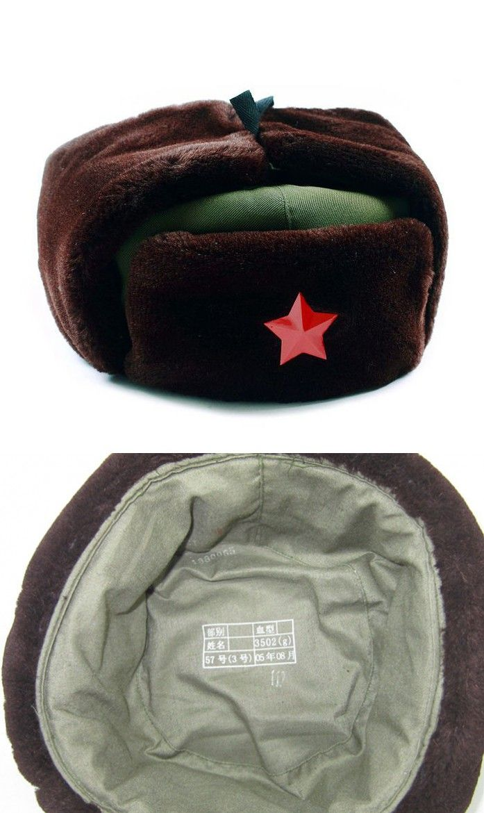 Chinese Russian Army Trooper Hat Ushanka winter Green Warm Cap With Red Star … 4b7c38c583b5