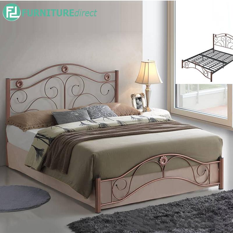 BRANDY queen size metal bed frameCopper FurnitureDirect