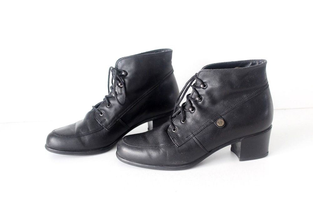 8a0059694d0c Women s Vintage Black Real Leather KENKA Cuban Heel Lace Up Ankle Boots UK3  EU36