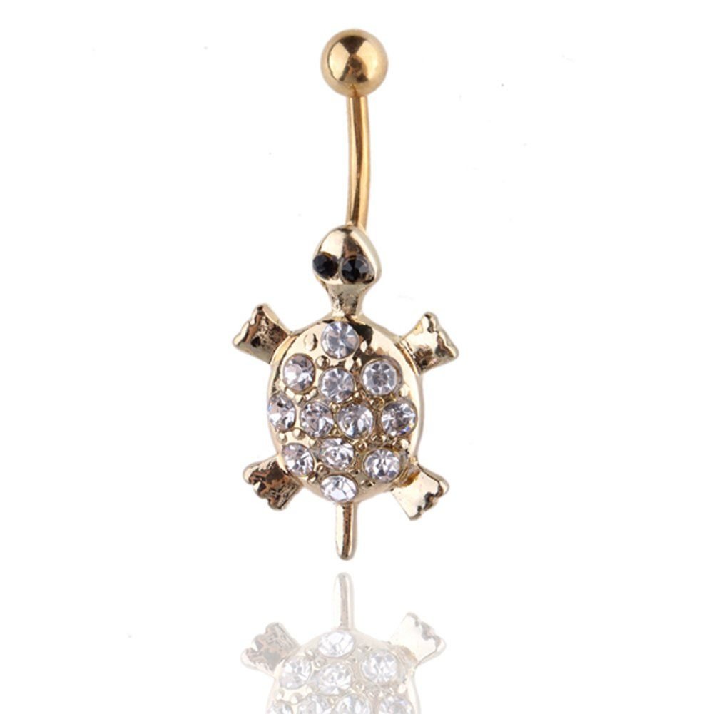 Belly button piercing meme  TOPBRIGHT Gold Turtle Belly Ring Clear Naval Dangle Body Jewelry g