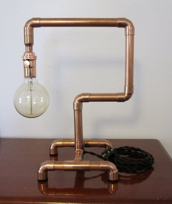 copper pipe steam punk industrial style desk lamb luz. Black Bedroom Furniture Sets. Home Design Ideas