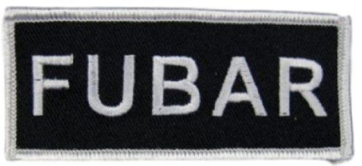 """[Single Count] Custom and Unique (1 1/2"""" by 3 1/2"""" Inches) Rectangle Adult Humor Joke FUBAR Text Iron On Embroidered Applique Patch {Black & White Colors}"""