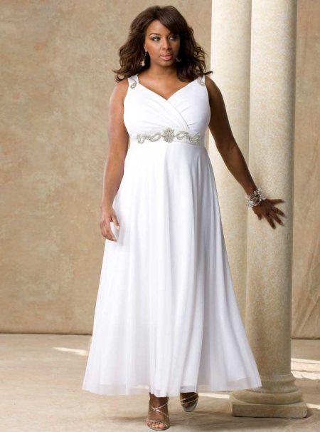 Simple, yet elegant long white plus size prom dress with V ...